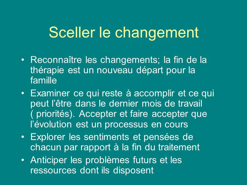 Sceller le changement Reconnaître les changements; la fin de la thérapie est un nouveau départ pour la famille.