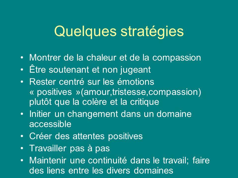 Quelques stratégies Montrer de la chaleur et de la compassion