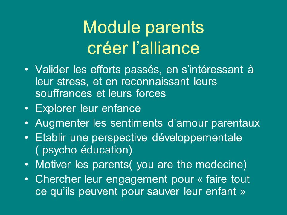 Module parents créer l'alliance