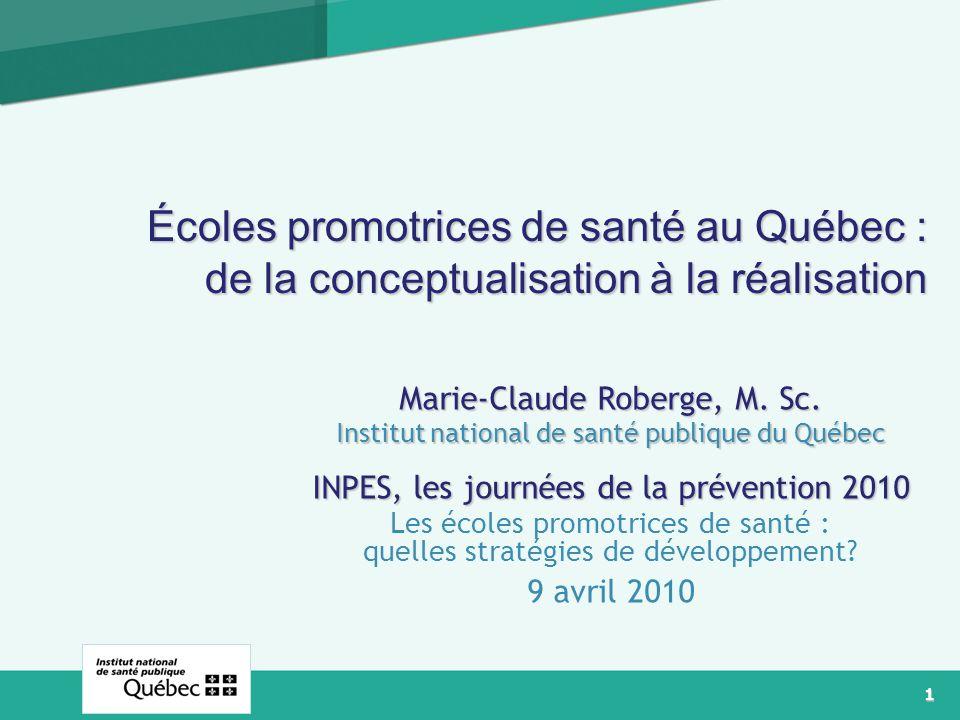 Écoles promotrices de santé au Québec : de la conceptualisation à la réalisation
