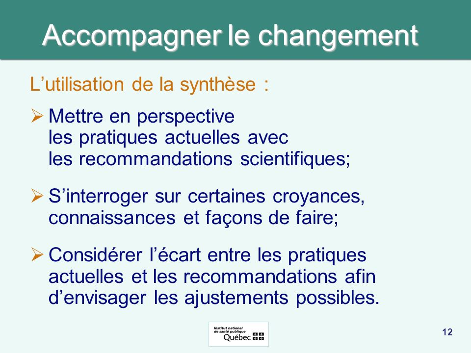 Accompagner le changement