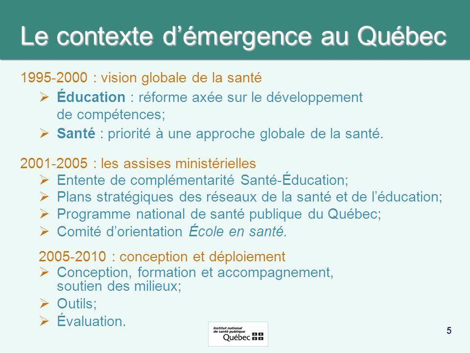 Le contexte d'émergence au Québec