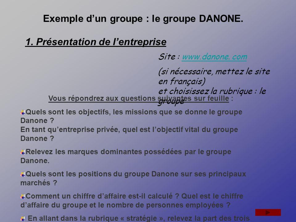 Exemple d'un groupe : le groupe DANONE.