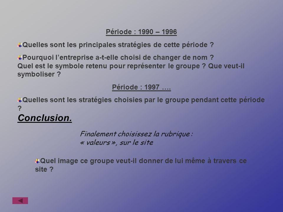 Période : 1990 – 1996 Quelles sont les principales stratégies de cette période