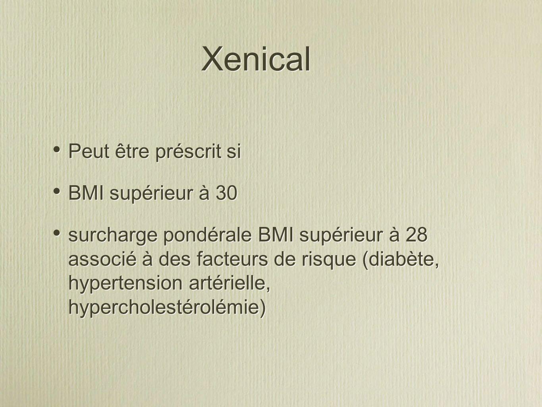 Xenical Peut être préscrit si BMI supérieur à 30
