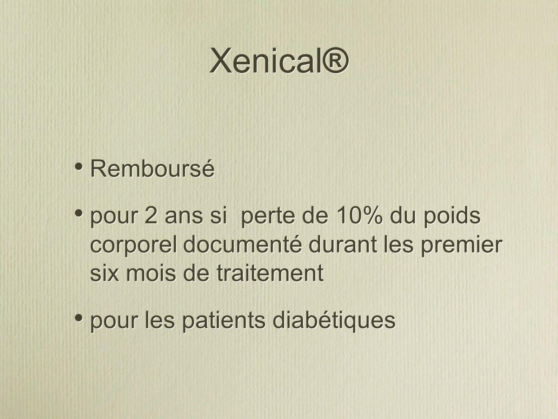 Xenical® Remboursé. pour 2 ans si perte de 10% du poids corporel documenté durant les premier six mois de traitement.