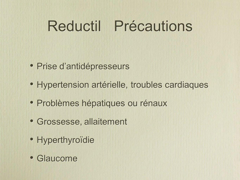 Reductil Précautions Prise d'antidépresseurs