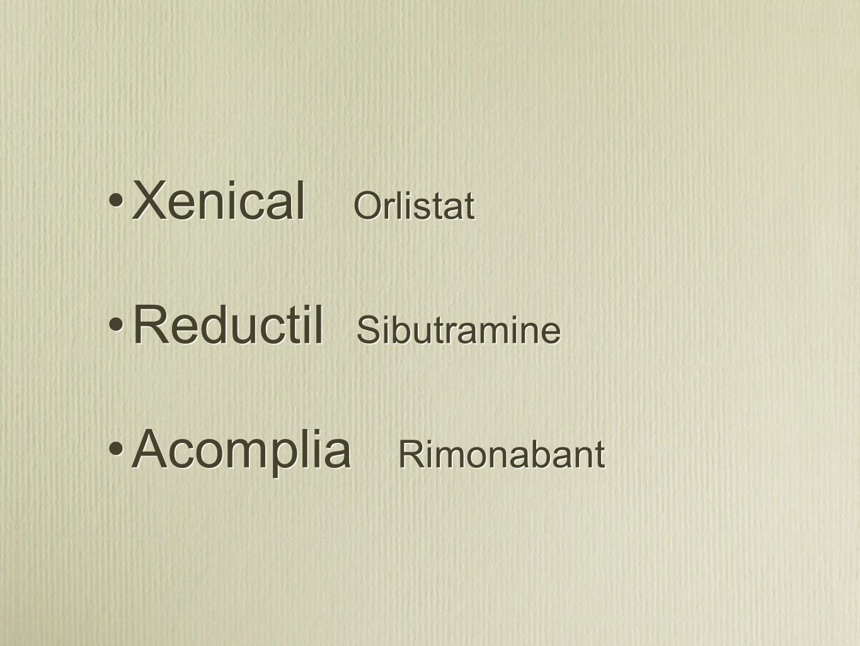 Xenical Orlistat Reductil Sibutramine Acomplia Rimonabant