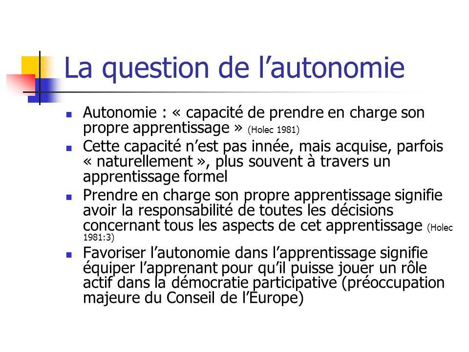 La question de l'autonomie
