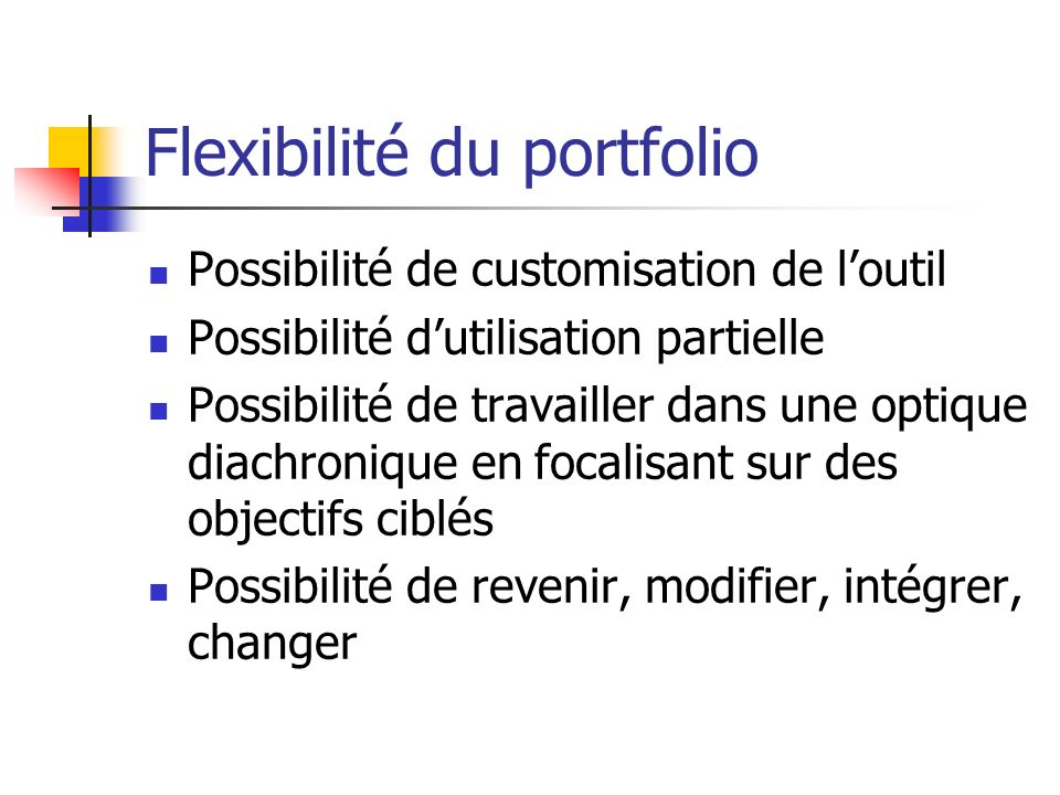 Flexibilité du portfolio