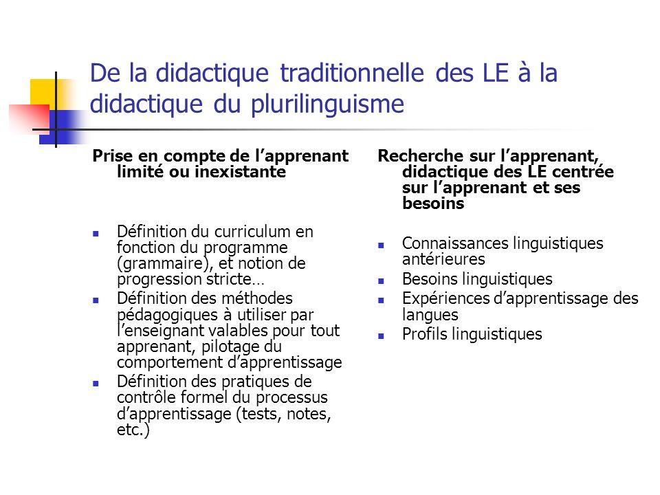 De la didactique traditionnelle des LE à la didactique du plurilinguisme