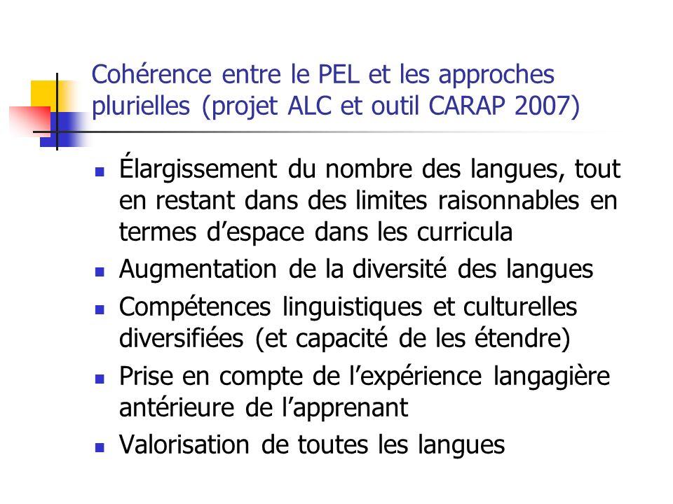 Cohérence entre le PEL et les approches plurielles (projet ALC et outil CARAP 2007)