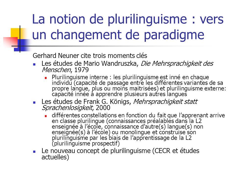 La notion de plurilinguisme : vers un changement de paradigme