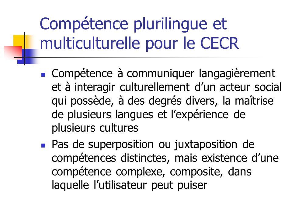 Compétence plurilingue et multiculturelle pour le CECR