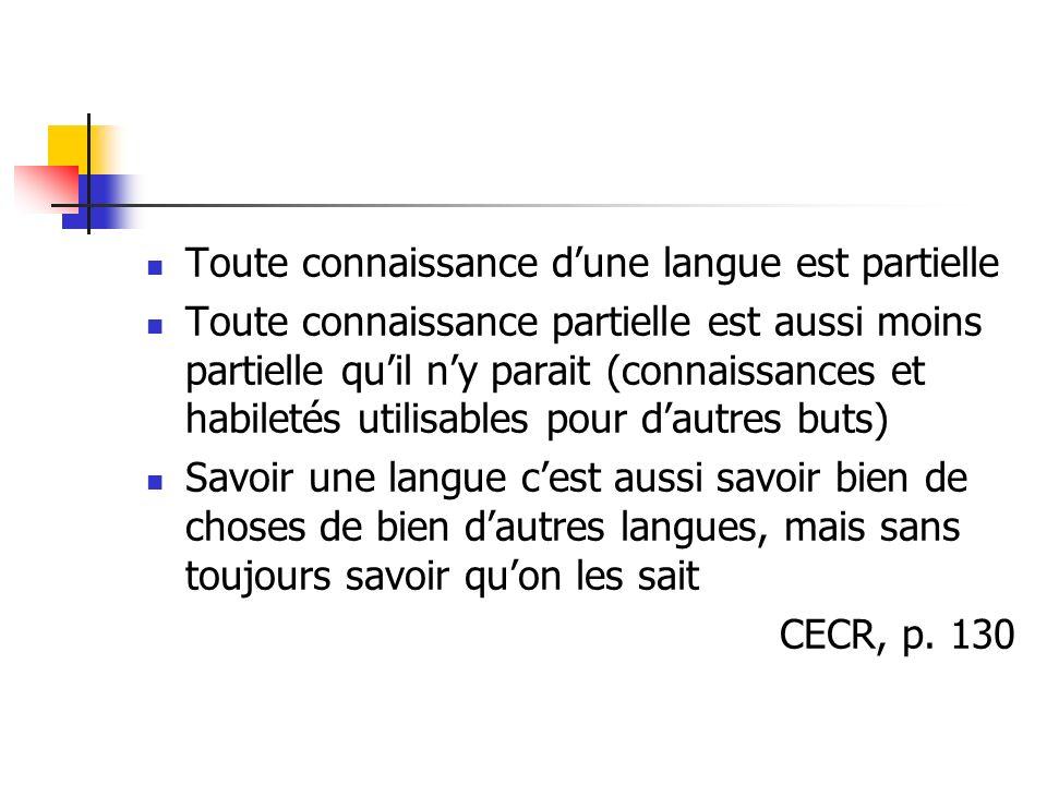 Toute connaissance d'une langue est partielle