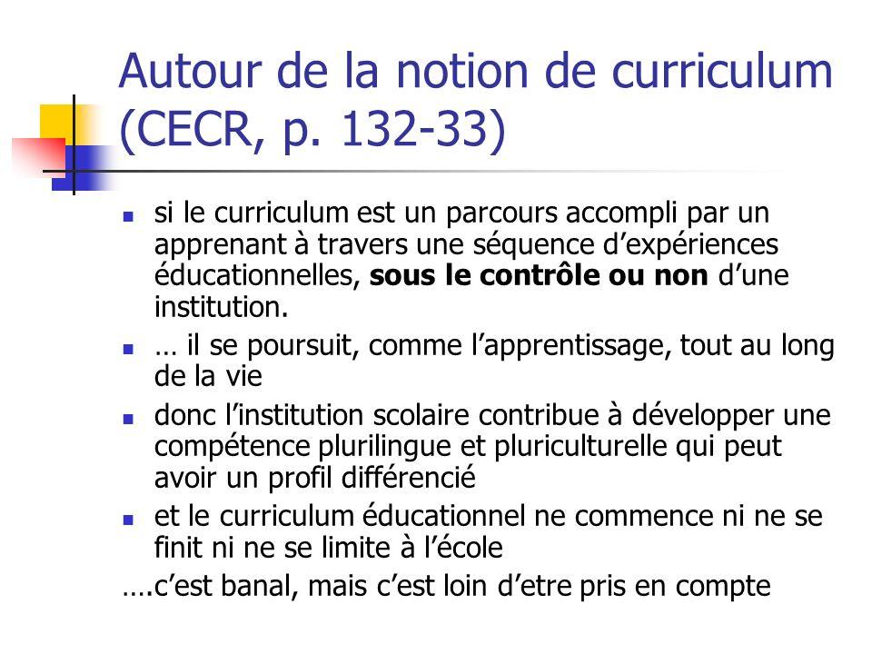 Autour de la notion de curriculum (CECR, p. 132-33)