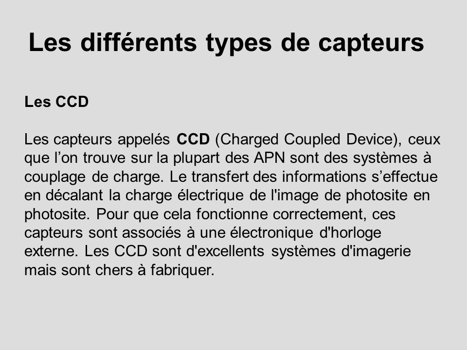 Les différents types de capteurs