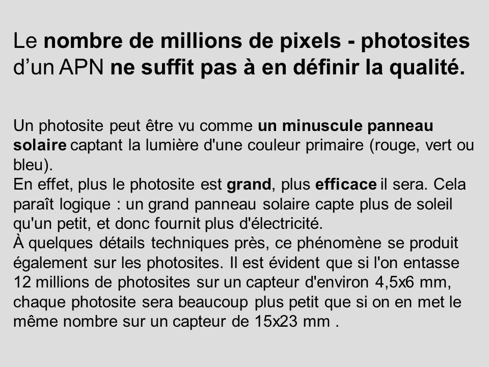 Le nombre de millions de pixels - photosites d'un APN ne suffit pas à en définir la qualité.