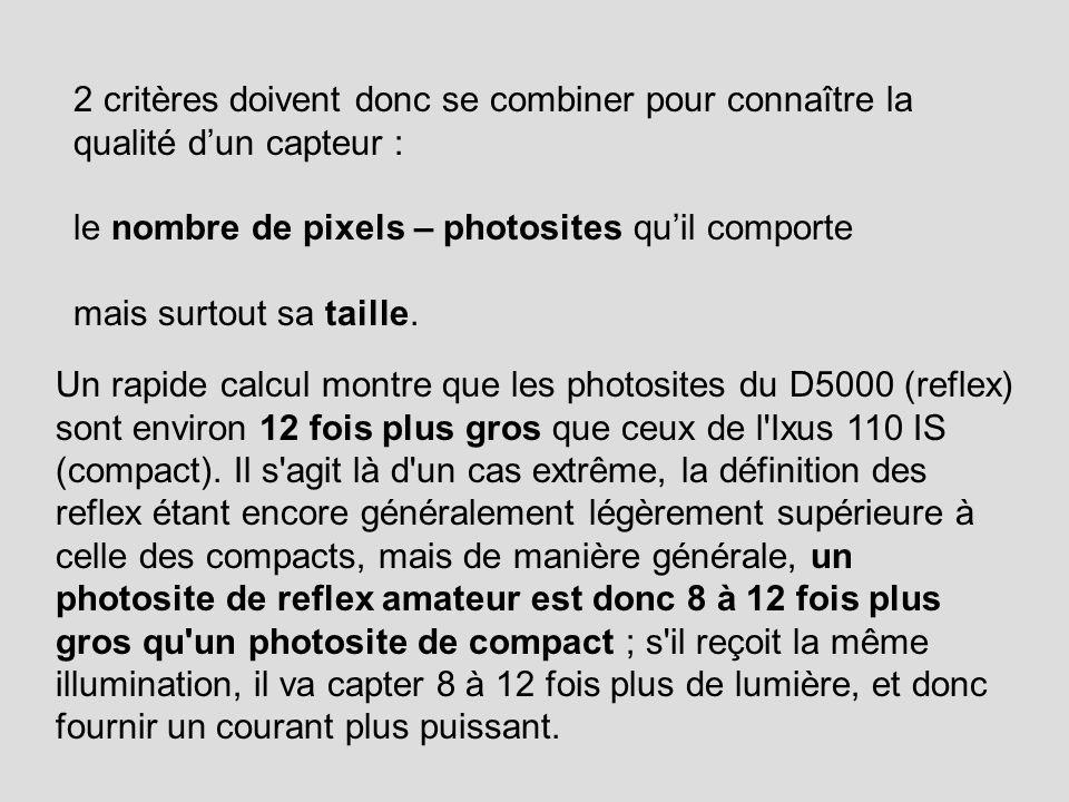 2 critères doivent donc se combiner pour connaître la qualité d'un capteur : le nombre de pixels – photosites qu'il comporte mais surtout sa taille.