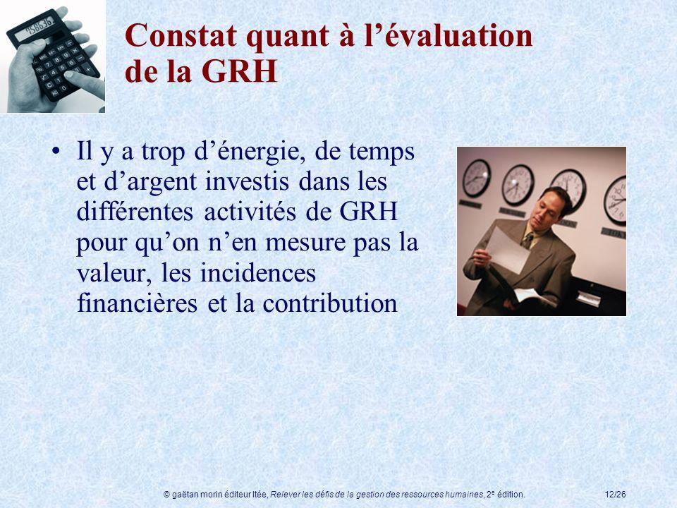 Constat quant à l'évaluation de la GRH