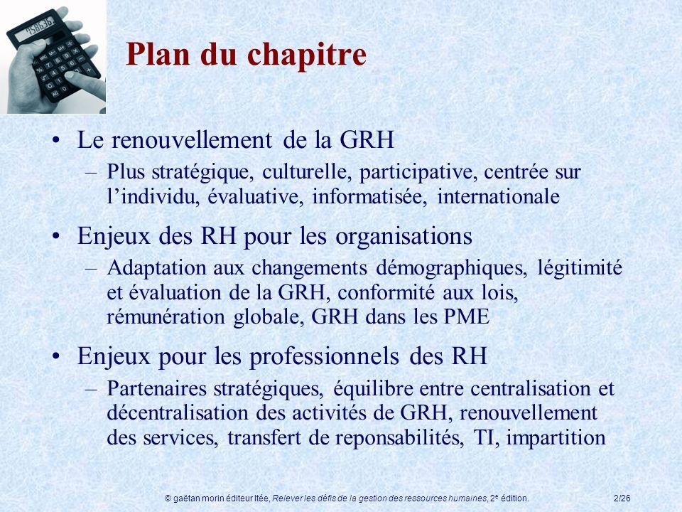 Plan du chapitre Le renouvellement de la GRH