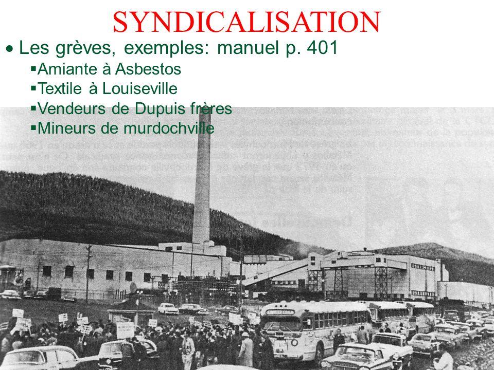 SYNDICALISATION  Les grèves, exemples: manuel p. 401