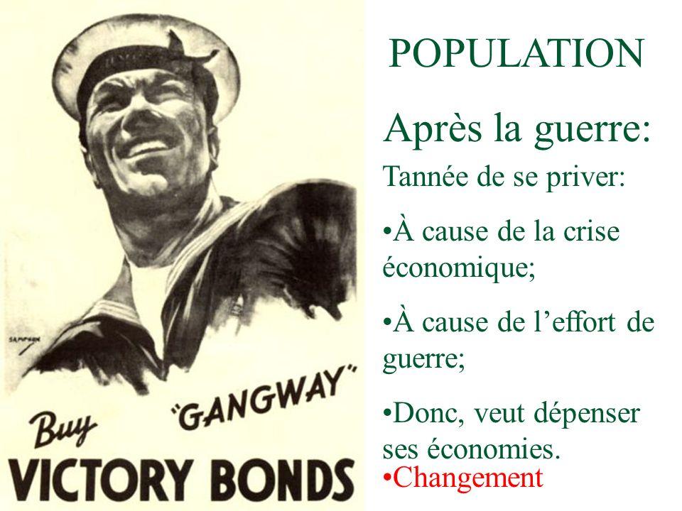 POPULATION Après la guerre: Tannée de se priver: