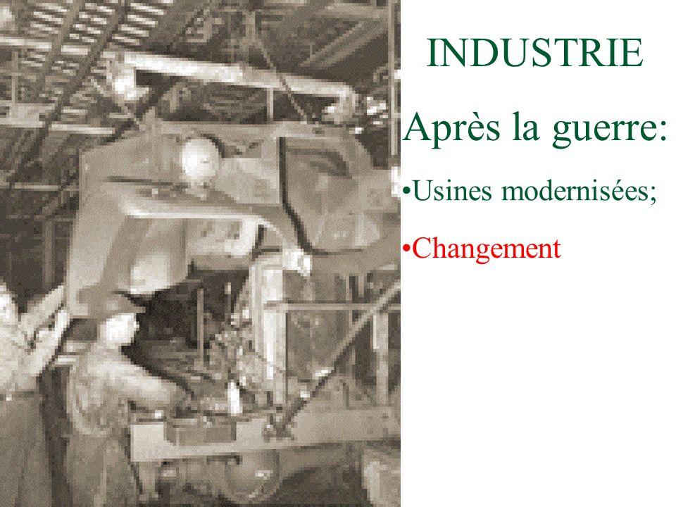 INDUSTRIE Après la guerre: Usines modernisées; Changement
