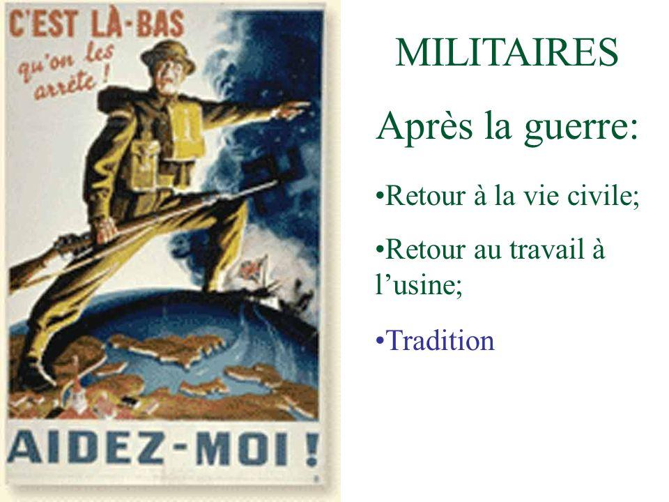MILITAIRES Après la guerre: Retour à la vie civile;