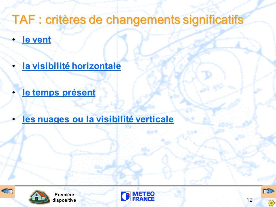 TAF : critères de changements significatifs