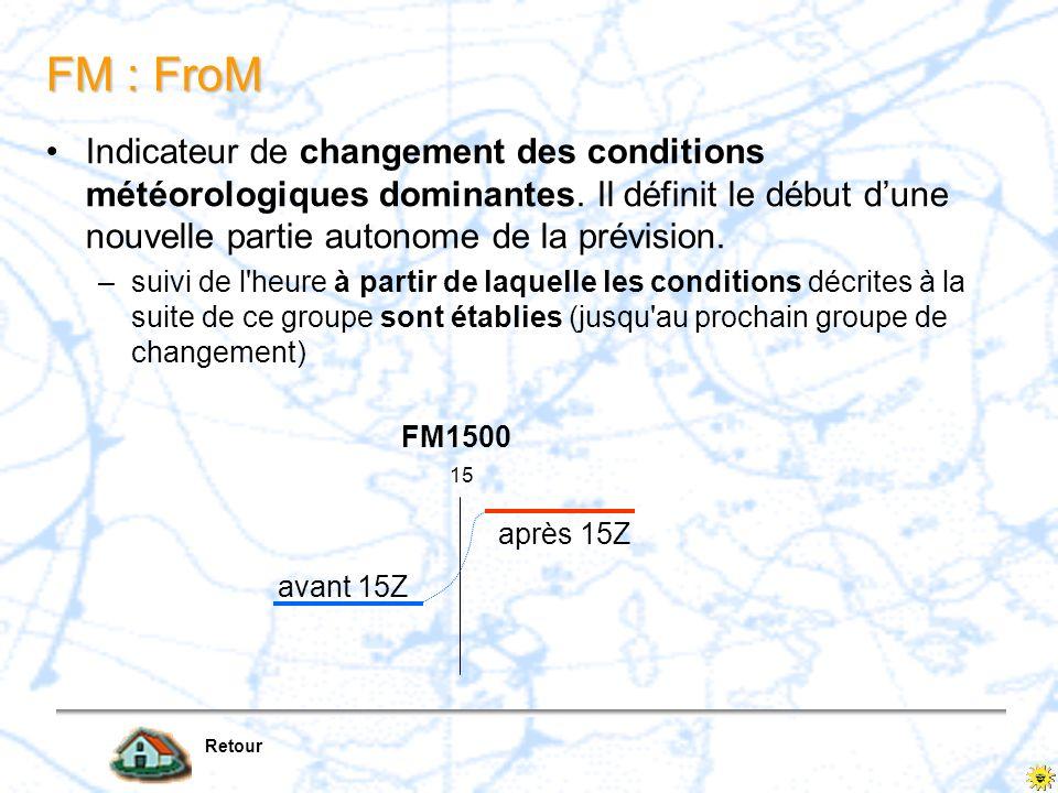 FM : FroM Indicateur de changement des conditions météorologiques dominantes. Il définit le début d'une nouvelle partie autonome de la prévision.