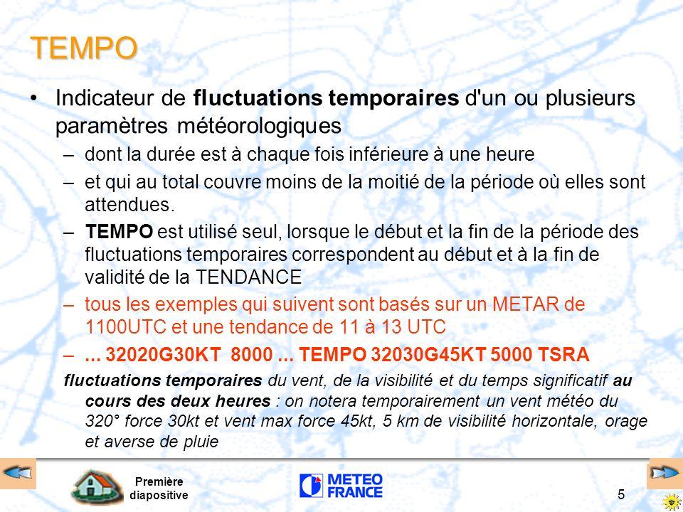 TEMPO Indicateur de fluctuations temporaires d un ou plusieurs paramètres météorologiques. dont la durée est à chaque fois inférieure à une heure.