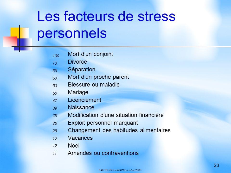 Les facteurs de stress personnels