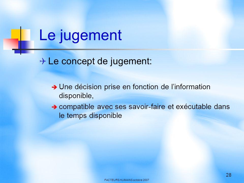 Le jugement Le concept de jugement: