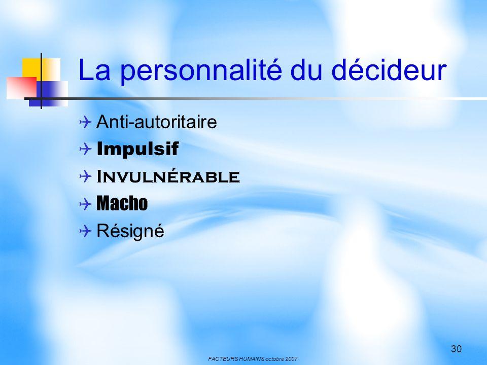 La personnalité du décideur