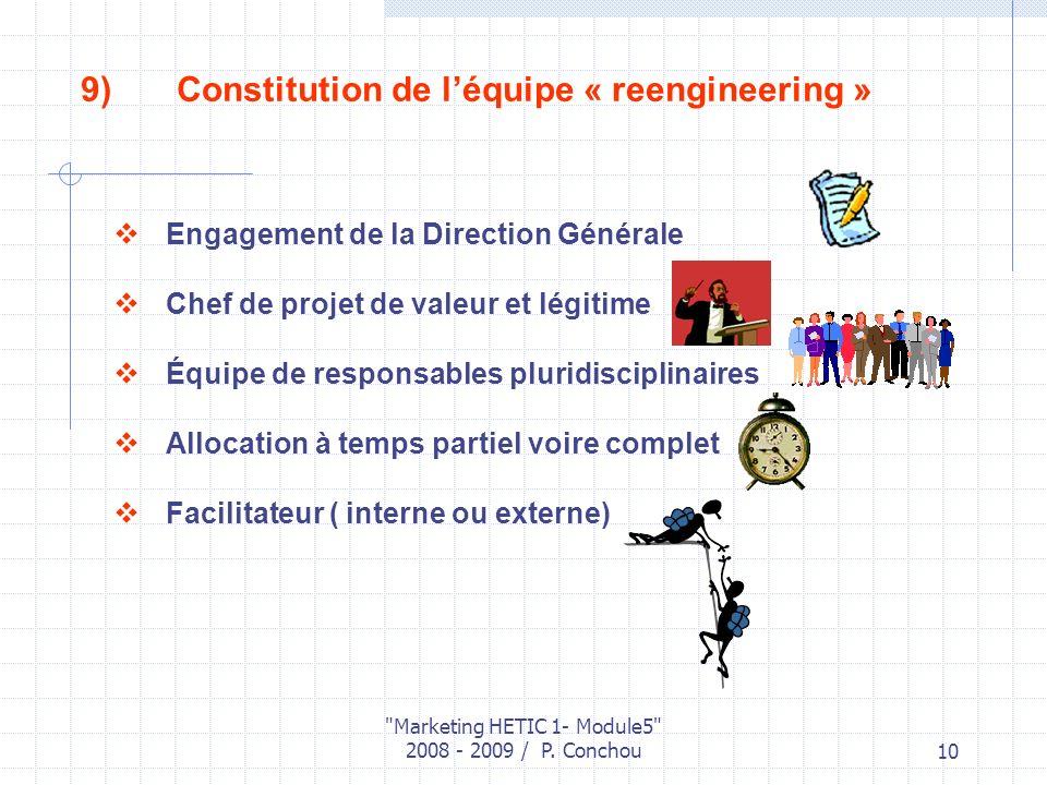 Constitution de l'équipe « reengineering »