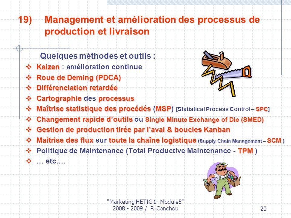 Management et amélioration des processus de production et livraison