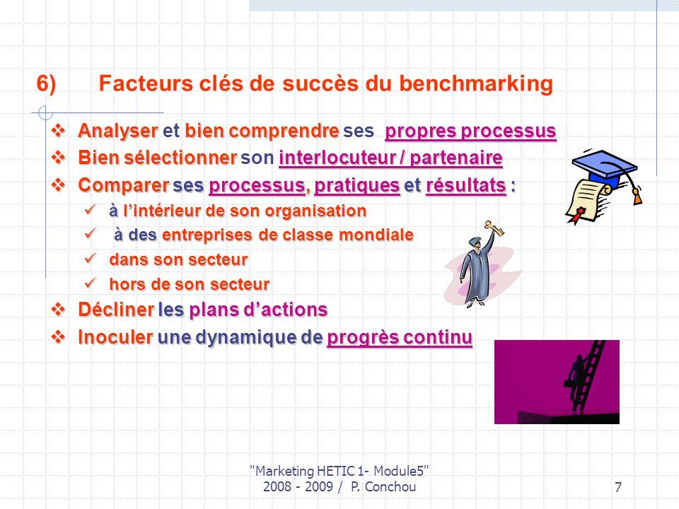 Facteurs clés de succès du benchmarking