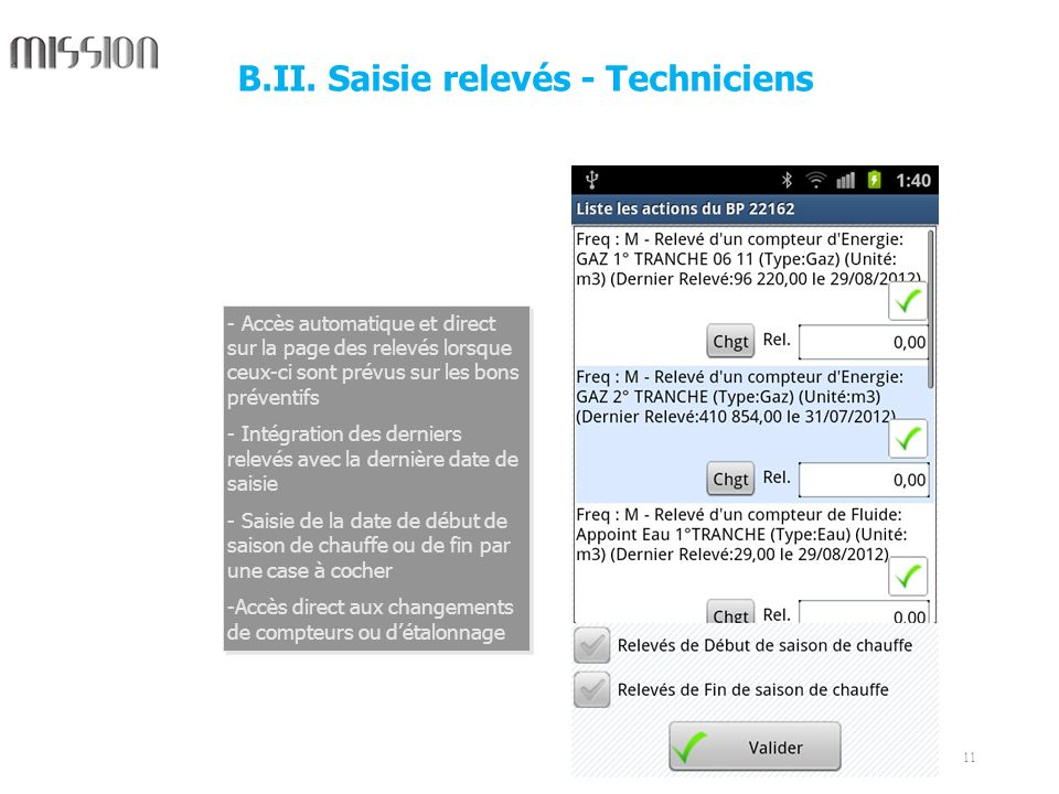 B.II. Saisie relevés - Techniciens