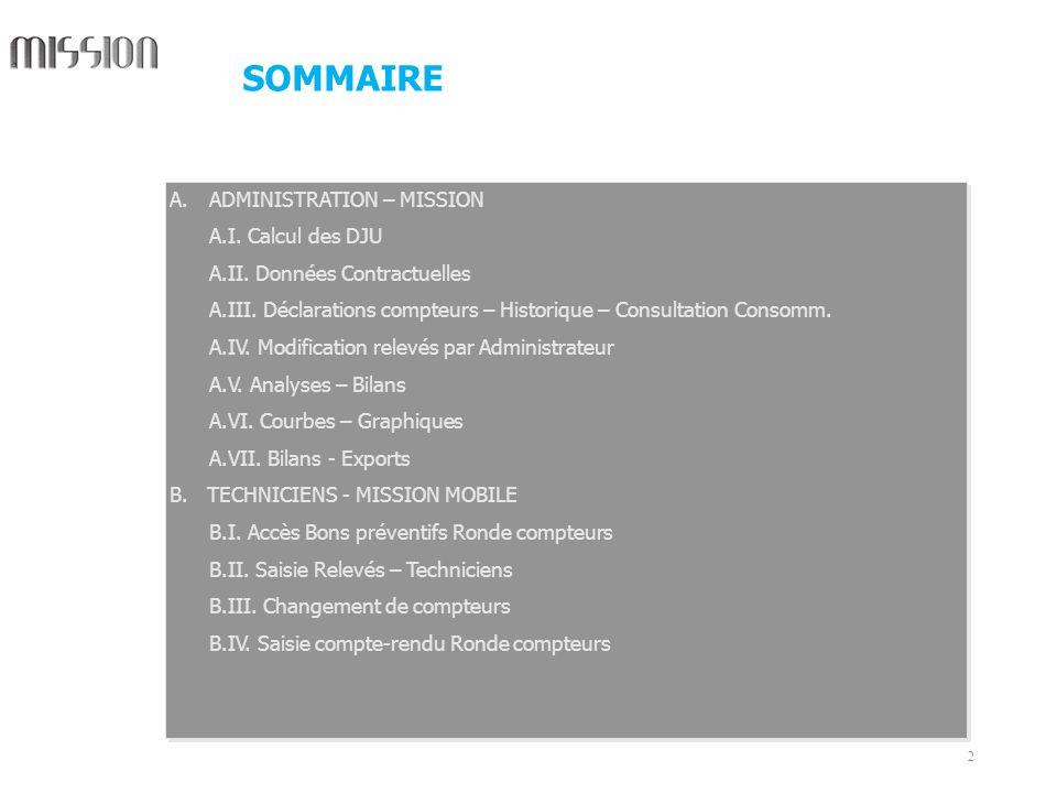 SOMMAIRE ADMINISTRATION – MISSION A.I. Calcul des DJU