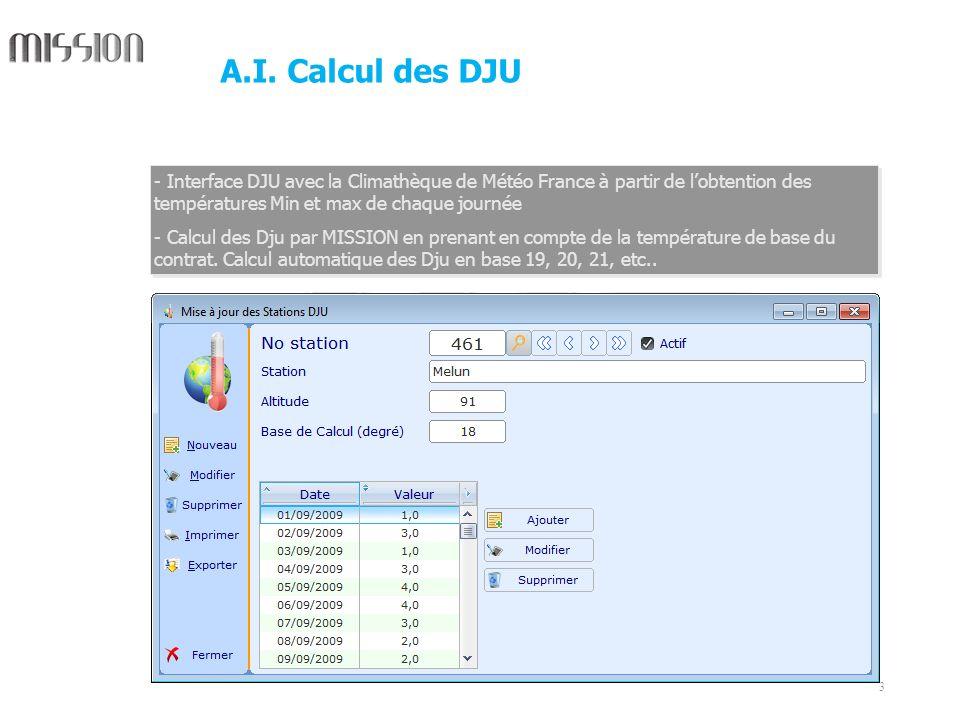 A.I. Calcul des DJU Interface DJU avec la Climathèque de Météo France à partir de l'obtention des températures Min et max de chaque journée.
