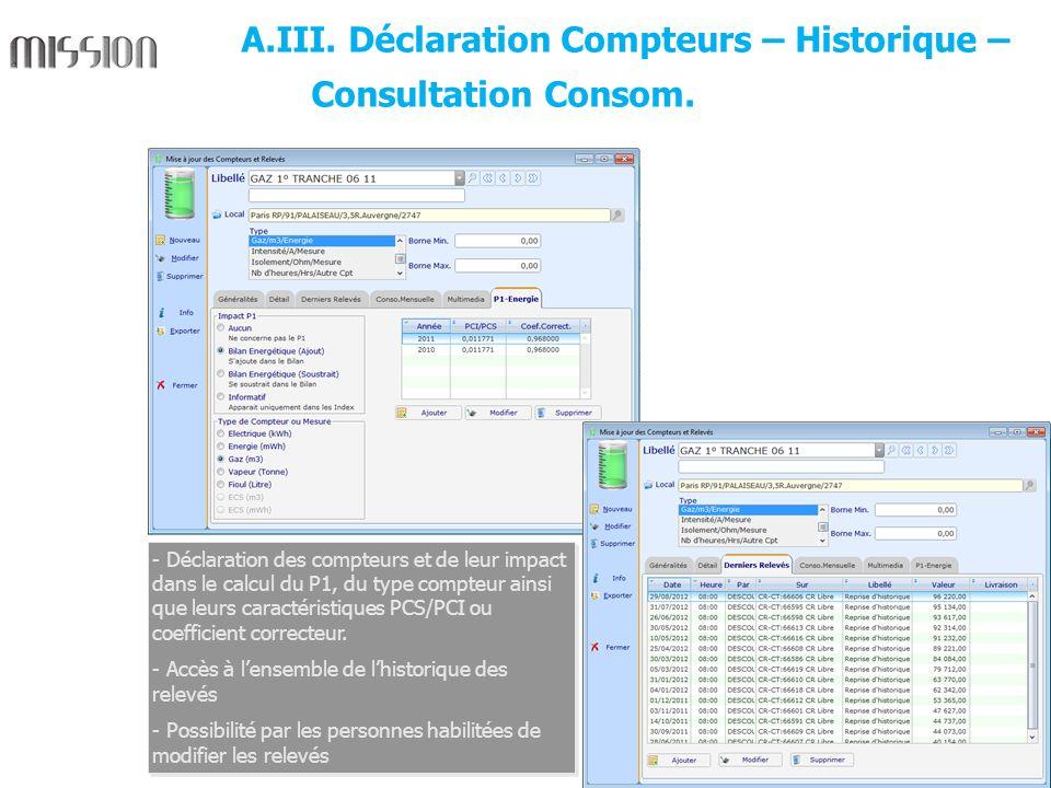 A.III. Déclaration Compteurs – Historique – Consultation Consom.