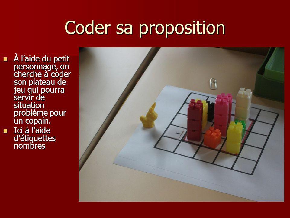 Coder sa proposition À l'aide du petit personnage, on cherche à coder son plateau de jeu qui pourra servir de situation problème pour un copain.