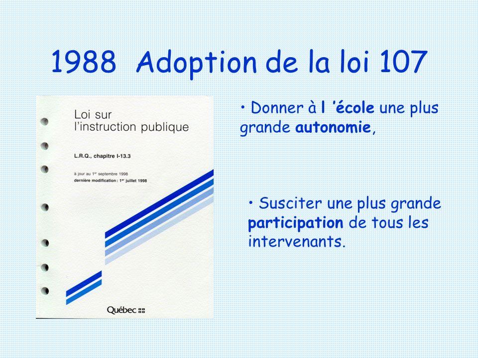 1988 Adoption de la loi 107 Donner à l 'école une plus grande autonomie, Susciter une plus grande participation de tous les intervenants.