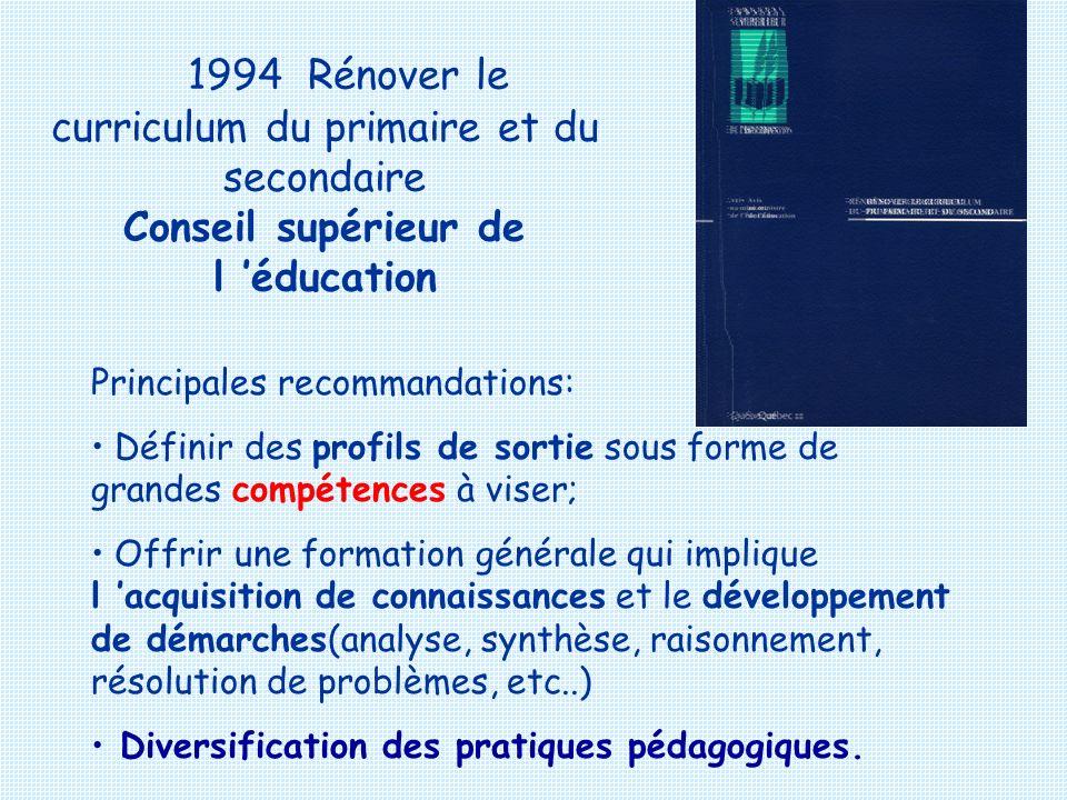 1994 Rénover le curriculum du primaire et du secondaire Conseil supérieur de l 'éducation