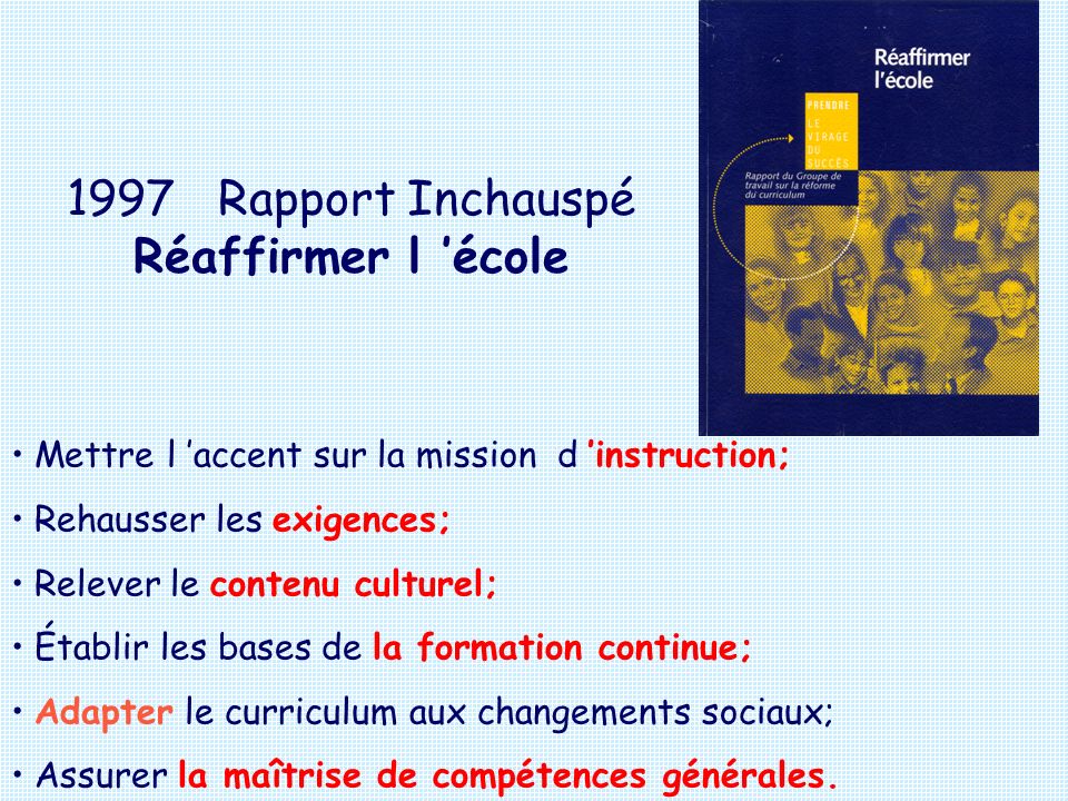 1997 Rapport Inchauspé Réaffirmer l 'école
