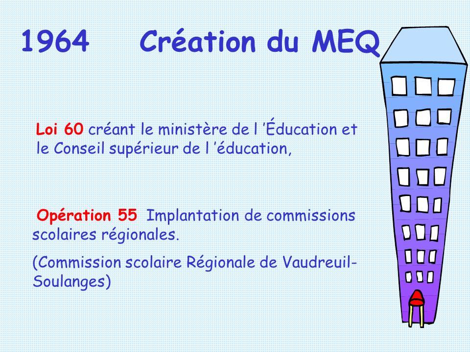 1964 Création du MEQ Loi 60 créant le ministère de l 'Éducation et le Conseil supérieur de l 'éducation,