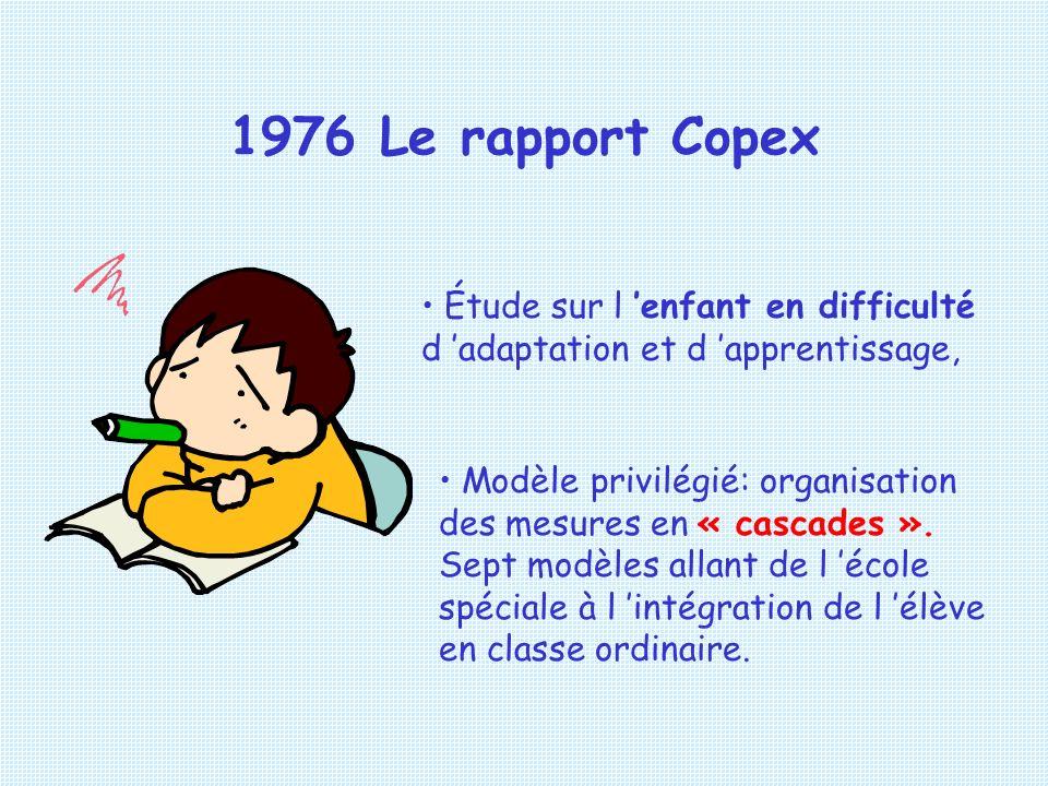 1976 Le rapport Copex Étude sur l 'enfant en difficulté d 'adaptation et d 'apprentissage,