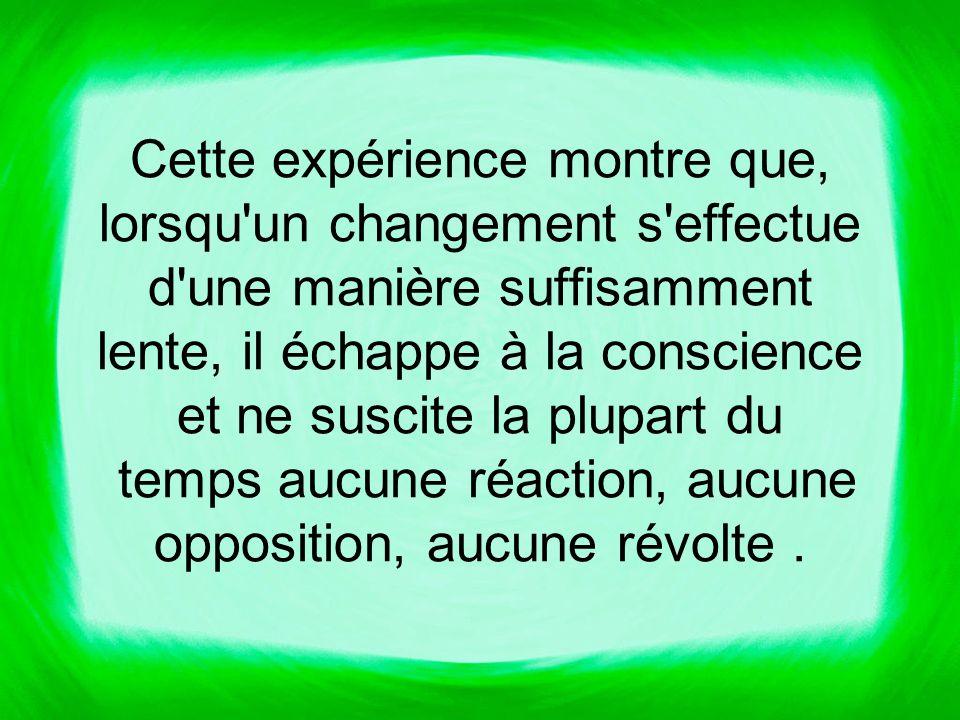 Cette expérience montre que, lorsqu un changement s effectue d une manière suffisamment lente, il échappe à la conscience et ne suscite la plupart du temps aucune réaction, aucune opposition, aucune révolte .