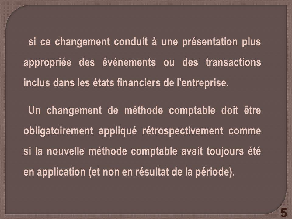 si ce changement conduit à une présentation plus appropriée des événements ou des transactions inclus dans les états financiers de l entreprise.